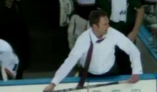 Enraged ECHL Coach Litters The Ice With Sticks (Video)
