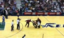 Jazz Mascot Fights Cavs Fan (Video)