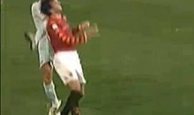 Kick To The Face Of Nicolas Burdisso Highlights Rome Derby (Video)