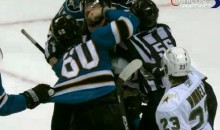 Sharks' Jason Demers Punches A Linesman In The Face (Video)