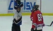 Amateur Hockey Player Breaks Stick Over Opponent's Head With Two-Handed Tomahawk Chop (Video)