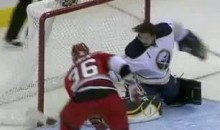 Jhonas Enroth Makes A Great Save, Sans Mask (Video)