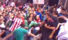 Man Gets Thrown Down Three Rows Of Seats During Soccer Fan Fight (Video)
