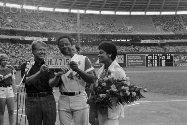 Hank Aaron with Wife and Governor Jimmy Carter