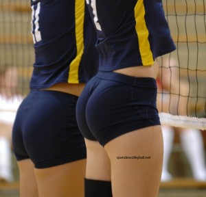 Naked in volleyball shorts