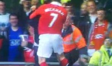 David Beckham Tackles Field Intruder During Gary Neville Testimonial Match (Video)