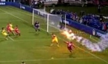 Dinamo Bucharest's Elis Bakaj Dodges A Firecracker  (Video)