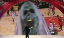 Kenny Smith Gets Spooked By Giant Haunted Screen (Video)