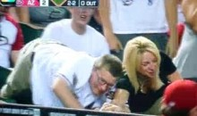 D-Backs Fan Wrestles Foul Ball From A Lovely Blond (Video)