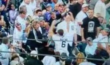 Female Rockies Fan Takes Out Male Tigers Fan Going For A Foul Ball (Video)