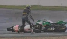 The Strangest Motorcycle Crash You Will Ever See (Video)