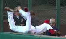 Watch Torii Hunter Leap Over The Right-Field Wall And Crash Into An Old Man (Video)
