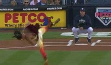 Cirque du Soliel Performer Throws Out Opening Pitch (Video)