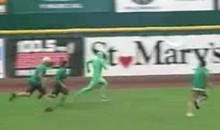 Green Man Escapes Security At A Minor League Baseball Game (Video)
