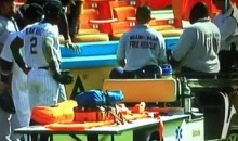 Padres' Orlando Hudson Stretchered Off After Crashing Into The Wall (Video)