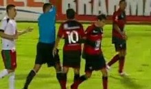 Throwing A Ball At The Ref And Kicking Him Will Earn You A Red Card (Video)