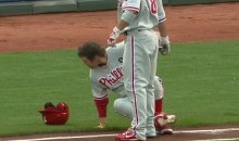 Phillies Bat Boy Takes A Spill (Video)