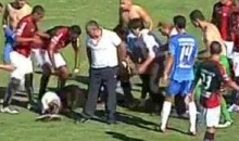 Unconscious Footballer Falls Off Stretcher (Video)