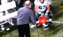 Eagles OL Coach Celebrates TD With Cane-Aided Chest-Bump (Video)