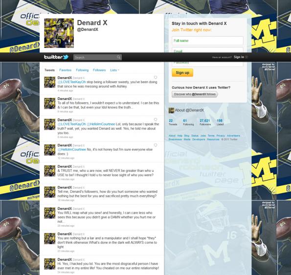 denard robinson twitter hacked