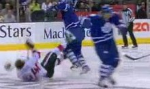 Leafs' Dion Phaneuf Levels Sens' Stephane Da Costa With Open-Ice Hit (Video)
