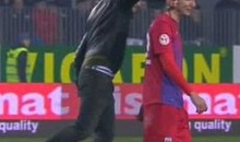 Pitch Invader Punches Steaua Bucharest's George Galamaz In The Face (Video)