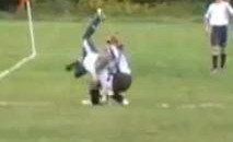 I Can't Believe She Got Up After That Tackle! (Video)