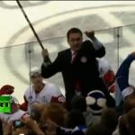Andrei Nazarov with a hockey stick