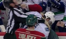 Wild's Cal Clutterbuck Punches A Referee (Video)
