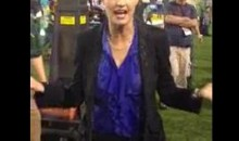 Erin Andrews Gets A Gatorade Shower (Video)