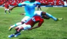 Nani Take A Flying Boot To The Face In Fifa 12 (Video)