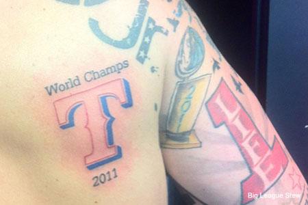 texas rangers world champs tattoo