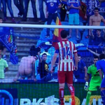 A Getafe fan tried to put off Diego Costa of Atletico Madrid before he took a penalty
