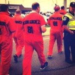 Bills fans wear hernandez jail suits