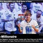 ESPN highlights WSOP Champ Ryan Riess donning Lions Megatron jersey- NFL all-star Charles Johnson