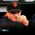 Matt Cain giving the bird to the camera during the game