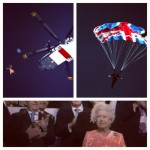Queen Elizabeth II and James Bond Jump from a helicopter during London Olympics opening ceremony