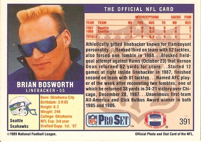 Brian Bosworth ProSet Card