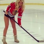 Shannon Ihrke wearing Chicago Blackhawks jersey