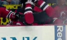 Cam Janssen Misses A Check, Ends Up In His Own Bench (Video)