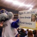 devil rays mascot and steve irwin sign