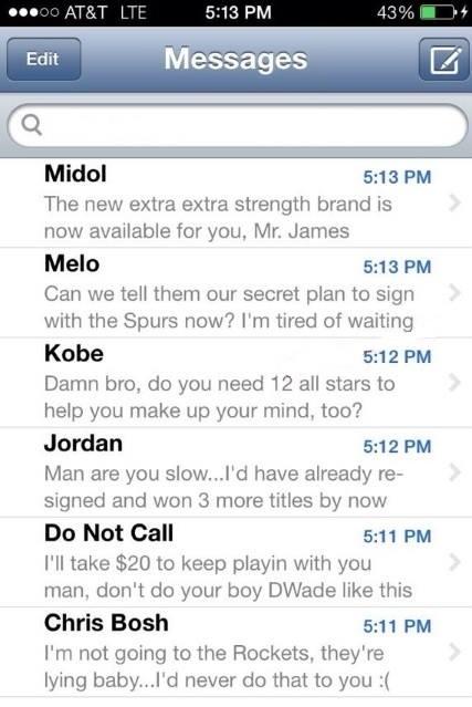 LeBron James Inbox