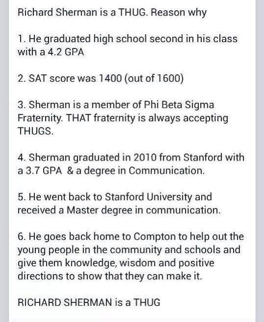 Richard Sherman is a Thug?