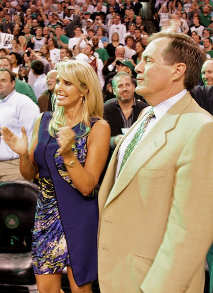 Coach Bill Belichick with girlfriend Linda Holliday at Game 6 of the Celtics win over the Cavs - May 13, 2010