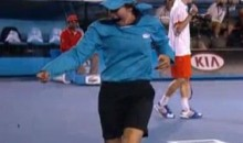 Cute Ball Girl Removes A Cockroach From The Court At The Aussie Open (Video)