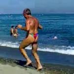 old beach jogger thong