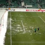 Legia Warsaw fans throw snowballs