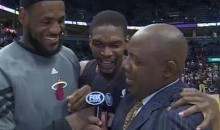 "Chris Bosh Interupts LeBron James' Post-Game Interview To Say ""Sh-t"" On Live TV (Video)"