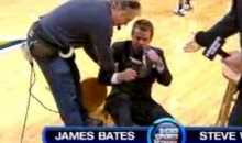 CBS Announcer James Bates Breaks His Stool (Video)