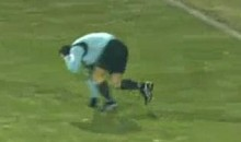 Soccer Referee Gets Hit With Cardboard, Flops Like A Soccer Player (Video)